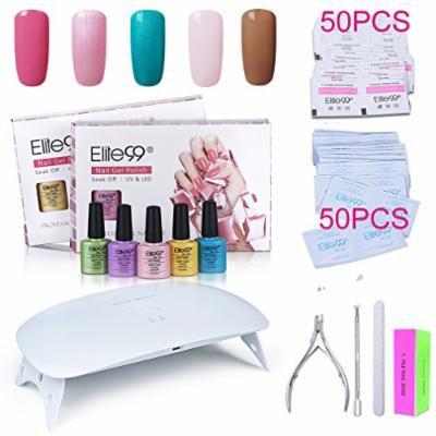 Elite99 Soak Off Gel Nail Polish Kit + SUNmini2 Plus 24W UV LED Nail Lamp + Gel Remover Wraps 50pcs + Cleanser Pads 50pcs + Nail Files and Buffer, Cuticle Pusher and Clipper Set C029
