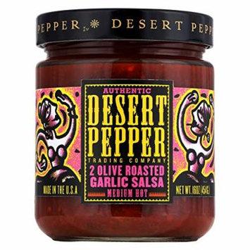 Desert Pepper Trading Medium Hot Two Olive Roasted Garlic Salsa - Case of 6 - 16 oz.