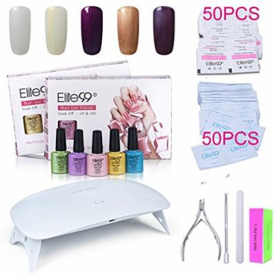 Elite99 Soak Off Gel Nail Polish Kit + SUNmini2 Plus 24W UV LED Nail Lamp + Gel Remover Wraps 50pcs + Cleanser Pads 50pcs + Nail Files and Buffer, Cuticle Pusher and Clipper Set C006