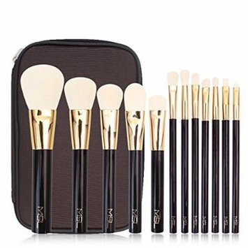 Energy Brand Long ABS Handle Soft Synthetic Hair Professional Makeup Brush Set 12 Pcs with Waterproof Canvas Makeup Bag