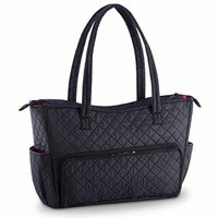 Quilted Shoulder Beauty Bag With Brush Storage Pocket Ideal for Cosmetic Bottles Brushes (Black)