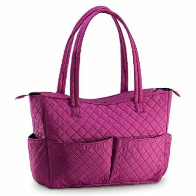 Quilted Shoulder Beauty Bag With Brush Storage Pocket Ideal for Cosmetic Bottles Brushes (Purple)