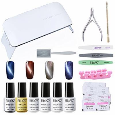 Elite99 Soak Off 3D Cat Eye Gel Nail Polish Kit with Base & Top Coat + SUNmini3 UV LED Nail Lamp + Magnetic + Remover Pads 50PCS + 6PCS Manicure Tools Nail Art Set C002