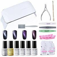 Elite99 Soak Off 3D Cat Eye Gel Nail Polish Kit with Base & Top Coat + SUNmini3 UV LED Nail Lamp + Magnetic + Remover Pads 50PCS + 6PCS Manicure Tools Nail Art Set C006