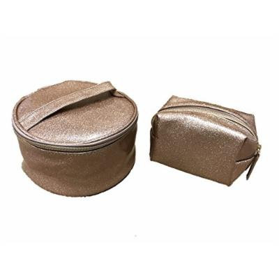 Patent Leather Cosmetic Bag Set Rose Gold Glitter