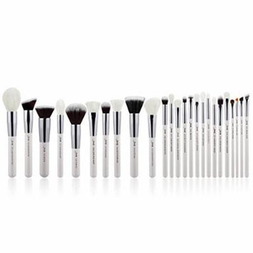 Jessup Brand 25pcs Professional Makeup Brush set Beauty Cosmetic Foundation Power Blushes eyelashes Lipstick Natural-Synthetic Hair Brushes set (Peal White/Silver)