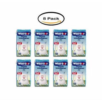 PACK OF 8 - West Soy Organic Unsweetened Soymilk, 65 Fl oz