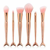 Professional 6 Pcs Mermaid Makeup Brushes Set Powder Contour Concealer Blush Eyeshadow Eyebrow Foundation Cosmetic Tools Gold