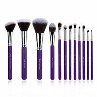 12pcs Purple/Silver Professional Makeup Brush set Beauty Make up Cosmetics kit Eyeshadow Foundation blusher Tools