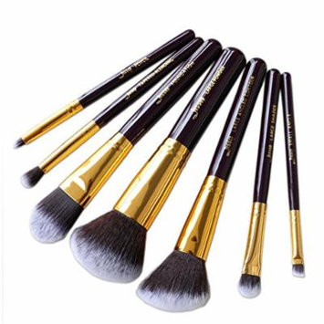 7pcs set MakeUp Cosmetic Set Eyeshadow Foundation wood Brush blusher Makeup brushesTools Purple/Gold