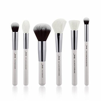 6pcs Pearl White/Silver Professional Makeup Brushes Sets Make up Brush Beauty Tools Buffer Paint Cheek Highlight Powder
