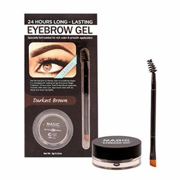 (3 PACK of different Options) Magic Collection Matte Waterproof Eyebrow Gel Medium Brown, Dark Brown and Black 0.11oz Free Gift Setting Spray 2.45oz