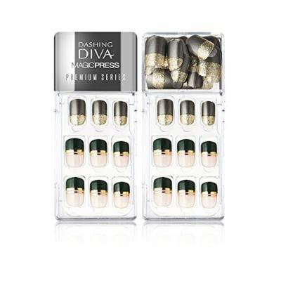 Dashing Diva 2017 Fall Design Magic Press Edge Full Cover Gel Nail Tips Easy to attach without Glue, Disposable (Simply Gold)