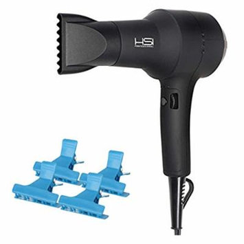 HSI Professional Dryonizer Max Ceramic Blow Dryer, Includes 2 Airflow Nozzles, HSI Style Guide, With A Bonus of 4 BeauWis Butterfly Clamps