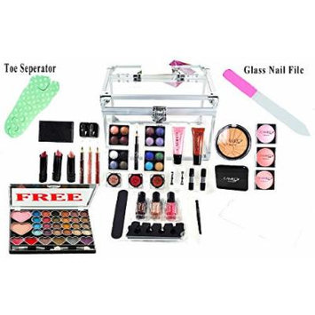 Carry All Trunk Makeup Kit Professional-Eyeshadow,Pedicure,manicure - Gift Set (FREE EYE SHADOW KIT)