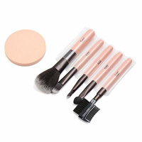uxcell 5 Sets Soft Foundation Eye Shadow Liner Brow Comb Blush Powder Cosmetic Makeup Brush Puff Tools