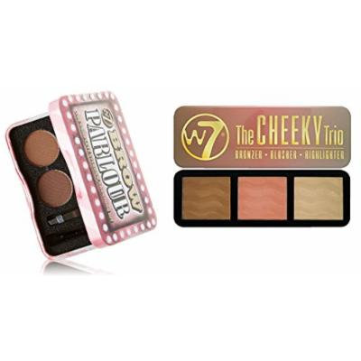 W7 Holiday Kit: The Cheeky Trio, Bronzer, Blusher, Highlighter Tin + Brow Parlour The Complete Eyebrow Grooming Kit + FREE Makeup Blender Sponge