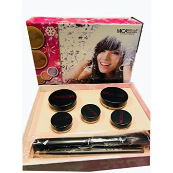 Mica Beauty (Micabella) Mineral Makeup Gift Set Includes: 2x Full size Powder Foundation MF- 7 lady Godiva and 3 Eye Shimmer #8 Tease,#13 Coral,#56 and 2 makeup brushes + Itay Mineral Matching Blush