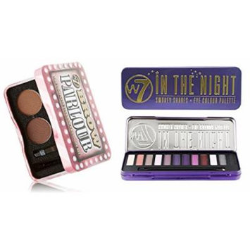 W7 Holiday Kit: In The Night Smokey Shades Eye Colour Palette Tin, 12 Eye Shadows + Brow Parlour The Complete Eyebrow Grooming Kit + FREE Makeup Blender Sponge