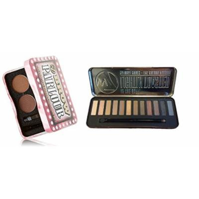 W7 Holiday Kit: Colour Lightly Toasted Natural Nudes Eye Colour Palette Tin, 12 Eye Shadows + Brow Parlour The Complete Eyebrow Grooming Kit + FREE Makeup Blender Sponge