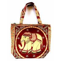 Bag by WP Embroidery Elephant Zipper Bag Handbag Tolebag Shopping Bag Handmade for Women