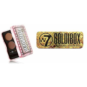W7 Holiday Kit: Goldibox and the 12 Shades Eye Colour Palette Tin, 12 Eye Shadows + Brow Parlour The Complete Eyebrow Grooming Kit + FREE Makeup Blender Sponge