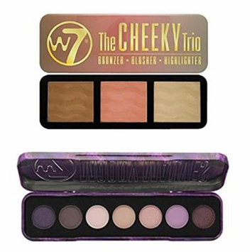 W7 Holiday Kit: Moody Mauves Purple Passion Shades, 7 Eye Shadow Colour Palette + The Cheeky Trio, Bronzer, Blusher, Highlighter Tin + FREE Eyebrow Razor, 3 Ct.