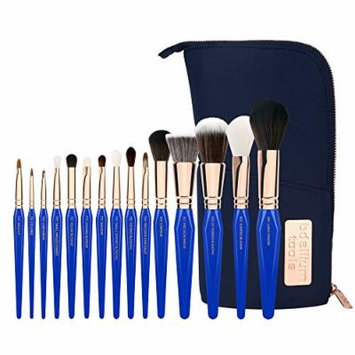 Bdellium Tools Professional Makeup Brush Golden Triangle Phase I - 15 pc. Brush Set with Stand-Up Pouch