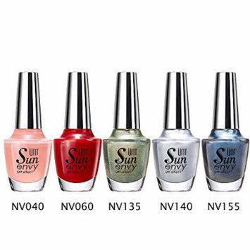 UNT 5 Pcs Gel Effect Nail Lacquer, No UV/LED Light Needed, Quick Dry Nail Polish, 15ml/0.5oz Each W Free Gift (Set1)