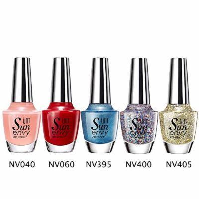 UNT 5 Pcs Gel Effect Nail Lacquer, No UV/LED Light Needed, Quick Dry Nail Polish, 15ml/0.5oz Each W Free Gift (Set4)