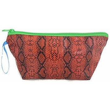 Python Print Cosmetic Makeup Pouch Travel Toiletry Bag with Zipper, Orange and Black