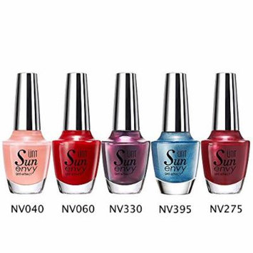 UNT 5 Pcs Gel Effect Nail Lacquer, No UV/LED Light Needed, Quick Dry Nail Polish, 15ml/0.5oz Each W Free Gift (Set5)