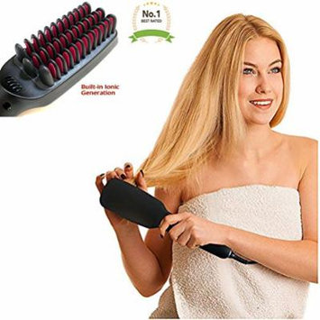 #1 Professional Hair Straightener Brush 2 in 1 Ionic Detangling Styling Comb Fast Ceramic Heating Adjustable Temperature Display Settings - Enjoy Silky Smooth Hair
