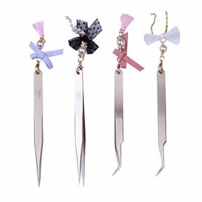 BORN PRETTY 4Pcs Nail Art Tweezer Straight Curved Stainless Steel Bowknot Decoration Sticker Rhinestone Picker Tool Set
