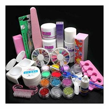 21in1 DIY Acrylic Powder Glitter Nail Art Brush Glue UV Tips Tools Full Kit Set