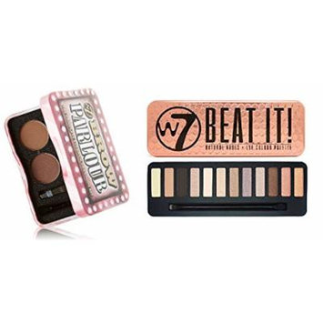 W7 Holiday Kit: Beat It! Natural Nudes Eye Colour Palette Tin, 12 Eye Shadows + Brow Parlour The Complete Eyebrow Grooming Kit + FREE Curad Dazzle Bandages, 25 Ct.