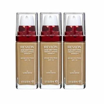Revlon Age Defying Firming & Lifting Makeup, Warm Beige (Pack of 3) + FREE Makeup Blender Sponge