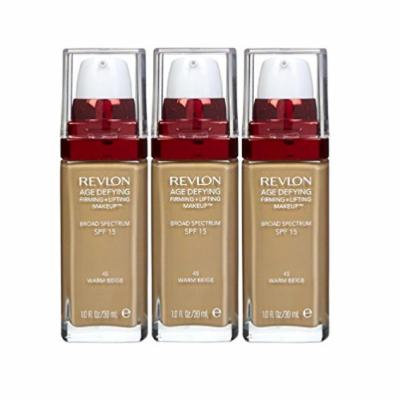 Revlon Age Defying Firming & Lifting Makeup, Warm Beige (Pack of 3) + FREE Makeup Blender Sponge