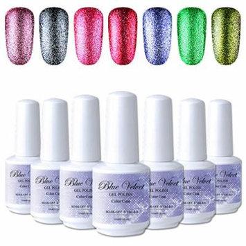 Platinum Gel Nail Polish Set 7PCS Blue Velvet Soak Off UV LED Glitter Gel Nail Varnish Kit 15ML