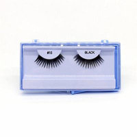 (PACK OF 12) PREMIUM 100% NATURAL HAIR EYELASHES WITH HARD BLUE CASE, #15