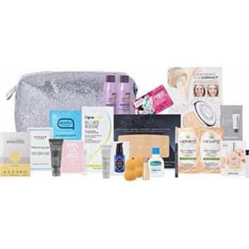 Ulta 20 Piece 2017 Strobe Light Silver Glitter Cosmetic Bag Makeup Kit