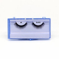 (PACK OF 12) PREMIUM 100% NATURAL HAIR EYELASHES WITH HARD BLUE CASE, #1