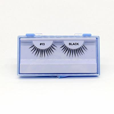(PACK OF 12) PREMIUM 100% NATURAL HAIR EYELASHES WITH HARD BLUE CASE, #13