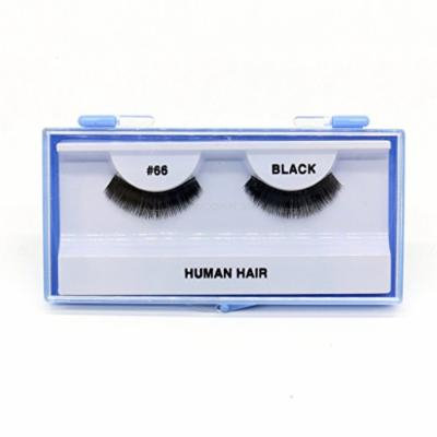 (PACK OF 12) PREMIUM 100% NATURAL HAIR EYELASHES WITH HARD BLUE CASE, #66
