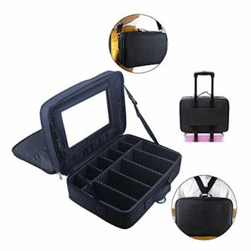 Professional 15.9'' Big Cosmetic Case Beauty Box Storage Tool Brushes Travel Makeup Bag Case Toiletry Pouch Single Double Shoulder with Adjustable Dividers Makeup Bag W/ Mirror (Black)