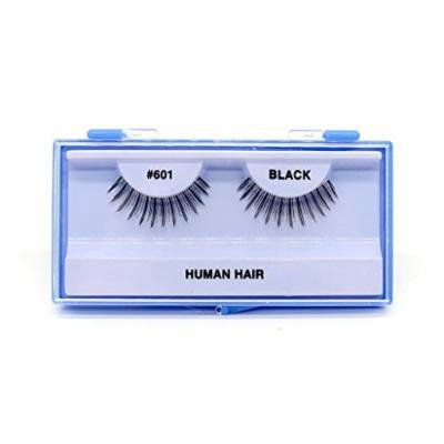 (PACK OF 6) PREMIUM 100% NATURAL HAIR EYELASHES WITH HARD BLUE CASE, #601