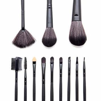 Cosmetic Makeup Eye Brush Set, Synthetic Brush Kit, Leather Case to Hold Powder, Blush, Eye Lash, Eye Liner, Shadow Applicators, and Smudging Sponge - 12 Piece Professional
