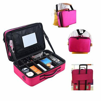 Professional Portable Big Cosmetic Case Beauty Box Storage Tool Brushes Travel Makeup Bag Case Toiletry Pouch Single Double Shoulder with Adjustable Dividers Makeup Bag Organizer W/ Mirror (Rose)