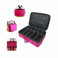 Professional 15.9'' Big Cosmetic Case Beauty Box Storage Tool Brushes Travel Makeup Bag Case Toiletry Pouch Single Double Shoulder with Adjustable Dividers Makeup Bag Organizer (Rose)