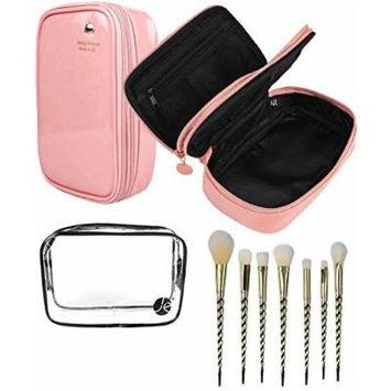JE (3 PCS SET) Pink 2 Layers Makeup Bag + (1 PCS) Clear Small PVC Cosmetic Bag + (7 PCS Set) Gold Unicorn Pro Brush Set